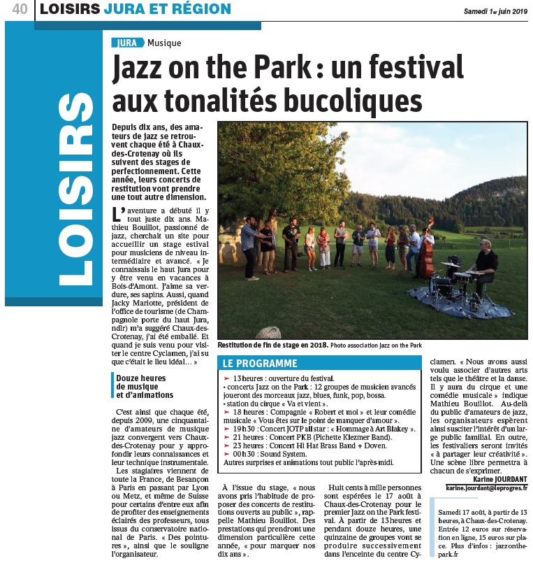 Article Le Progrès sur le festival Jazz On The Park